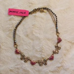 Betsey Johnson Heart and Bow Gold Necklace